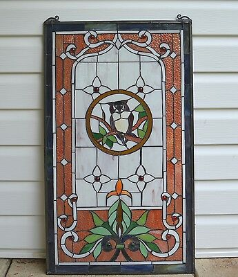 "20"" x 34"" Large Tiffany Style stained glass window panel owl 10"