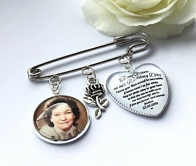 Groom Buttonhole Photo Memory Charm Message From Bride Grooms Gift Wedding 3