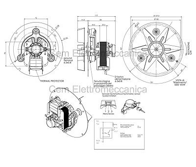 Estrattore fumi stufa pellet ventilatore universale 48W TRIAL ventola motore 6