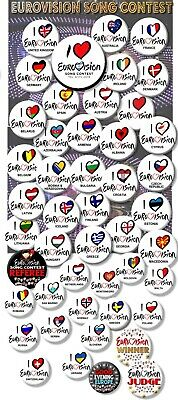 """Eurovision Song Contest Party Badges/ Eurovision Sweepstake~ 25 Mm/ 1 """" 6"""