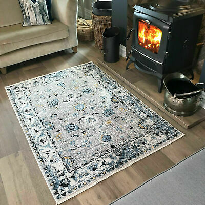 Modern Traditional Pattern Blue Grey Mustard Distressed Living Room Area Rugs