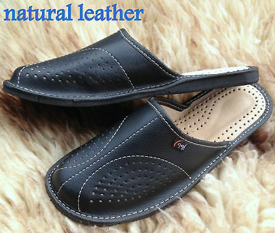 Mens Leather Slippers Slip On Shoes Moccasins Size 7 8 9 10 11 12 13 UK Mules 5