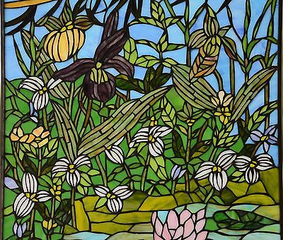 "24"" x 36"" Lily Pond Lotus Tiffany Style stained glass window panel 4"