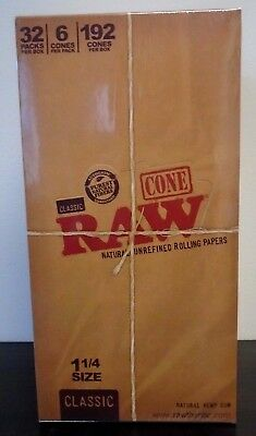 RAW Classic Pre-Rolled Cones 1 1/4 Rolling Papers Box 32 Packs 192 Cones~Sealed 2
