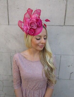 Cerise Hot Pink Sinamay Rose Flower Feather Hat Fascinator Races Hair 5922 2