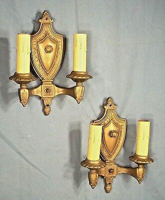 Pair Of Victorian Art Nouveau Art Deco Gold Metal Shield Back Double Arm Sconces 5