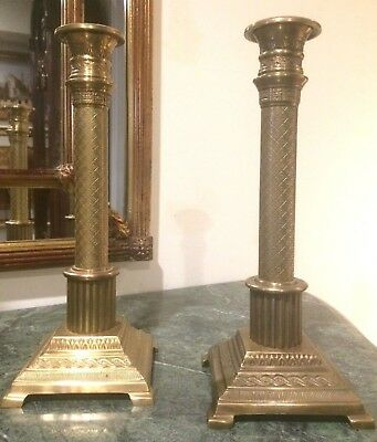 Antique Pair of Gilt Bronze French Empire Candlesticks Candle Holders 2