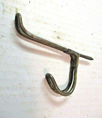 "1 Antique Steel Wire Coat Hanger Primitive Double Hook 3"" Projection Installed 3"