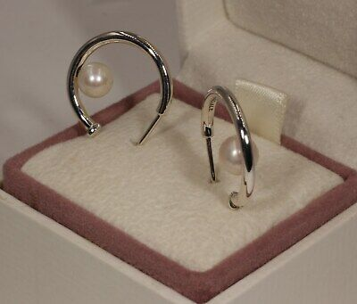 74f9170d37eb0 AUTHENTIC PANDORA CONTEMPORARY Pearl Hoop Earrings, 297528P #1607
