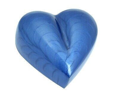 Mini Cremation Urn For Ashes Funeral Memorial Small Blue Heart Keepsake & box 2