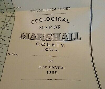 Original 1897 Geological Map of Marshall County Iowa by SW Beyer Library Stamp 2