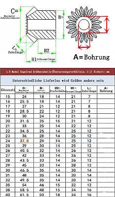 1 Stk. Kegelrad Kegelzahnrad Modul 1.5 15-20 Zähne Übersetzung 1:1 1.5M 15-20T 2