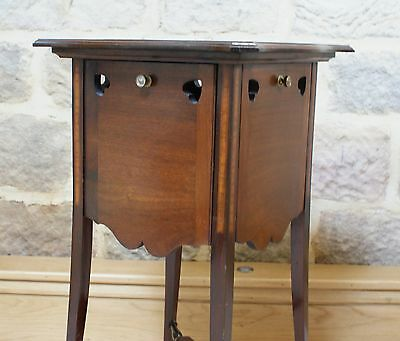 Antique Side Table Inlaid Mahogany Sweetheart Tapered Legs Fold Out Sides Rare 4