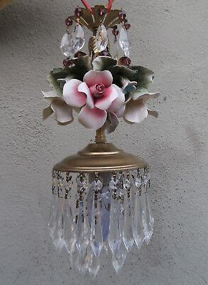Porcelain ROSE pink Chandelier SWAG lamp Capodimonte Brass Vintage crystal 5