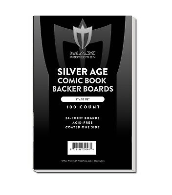 300 RESEALABLE Silver Age Max Pro Comic Book Poly Bags + Acid Free Backer Boards 2