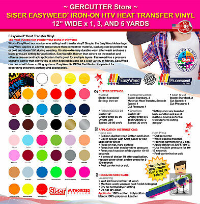 """Siser easyweed iron-on htv heat transfer vinyl 12"""" wide x 1, 3, and 5 yards 2"""