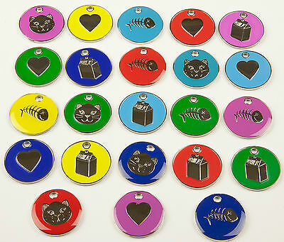 Cat Dog Tag, Quality 20mm PET ID Tags, 9 Colours & Designs + ENGRAVING OPTIONS 2