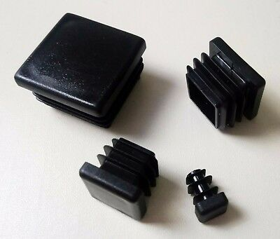 Square Plastic End Caps Blanking Plugs Box Section /Tube Inserts / Black 6