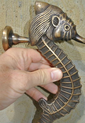 """Large SEAHORSE solid pure brass door old style heavy house PULL handle 14"""" B 6"""