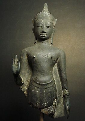 ANTIQUE BRONZE CROWNED AYUTTHAYA BUDDHA FRAGMENT. HISTORIC TEMPLE RELIC 16/17thC 6