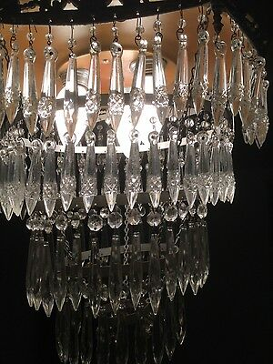 BEAUTIFUL 5 Tier Antique Crystal Cake Chandelier 6