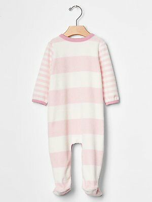 248d8b2926e8 ... GAP Baby Girls 0-3 Months Pink   White Striped Velour Footed One-Piece