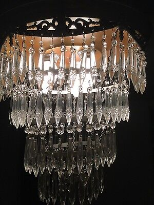 BEAUTIFUL 5 Tier Antique Crystal Cake Chandelier 7