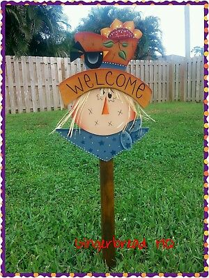 Hp Wooden Welcome Scarecrow Yard Stake Autumn Fall Handmade