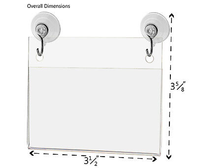 """Business Card Small Signage Holder 3.5""""W x 2""""H Wall Mount Hooks and Suction Cups 2"""