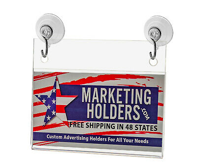 """Business Card Small Signage Holder 3.5""""W x 2""""H Wall Mount Hooks and Suction Cups 9"""