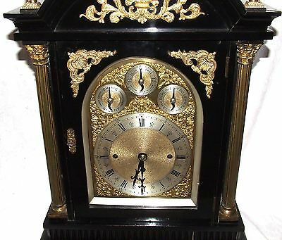 Massive Triple FUSEE Musical Mantel Bracket Clock on 8 Bells & Westminster Chime 5