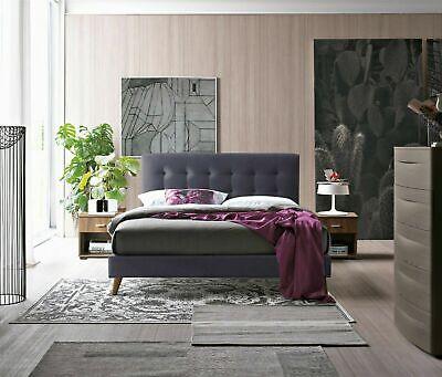 Novara Fabric Modern Dark Grey Bed Frame Scandinavian Retro Double & King Size 2