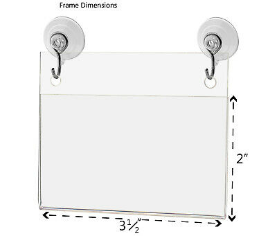 """Business Card Small Signage Holder 3.5""""W x 2""""H Wall Mount Hooks and Suction Cups 3"""