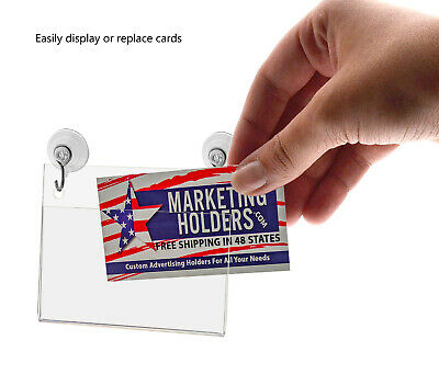 """Business Card Small Signage Holder 3.5""""W x 2""""H Wall Mount Hooks and Suction Cups 4"""
