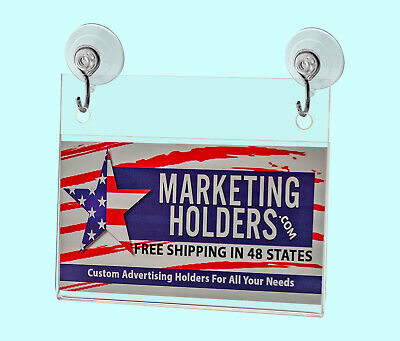 """Business Card Small Signage Holder 3.5""""W x 2""""H Wall Mount Hooks and Suction Cups 11"""