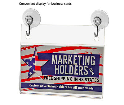 """Business Card Small Signage Holder 3.5""""W x 2""""H Wall Mount Hooks and Suction Cups 6"""