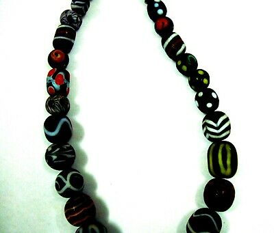 """Rare 22"""" 45 Beads Phoenician Mosaic Glass Assorted Bead Pendant Necklace A4 11"""