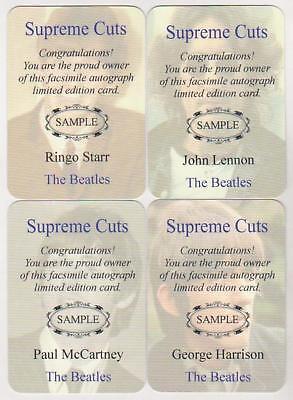 The Beatles Supreme Cuts Embossed Die Cut Facsimile Signature 4 Card Sample Set