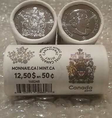 2019 Special Wrap Roll of 25 50-cent Coins Sealed Canada Coat of Arms 2