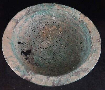 "Rare Ancient Celtic Copper Alloy/Bronze Strainer, 7th -11th c. 11"" wide x 4 ¼"" t"