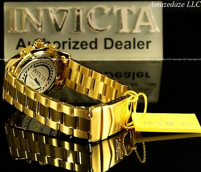 NEW Invicta Mens 18K Gold Plated Stainless Steel Golden Dial Chronograph Watch!! 8