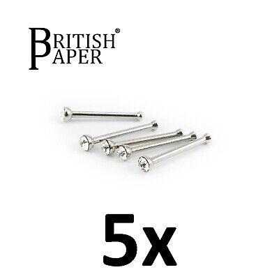 Uk Silver Nose Stud Straight I L Screw Shape Surgical Steel Pin Set Bar Piercing 11