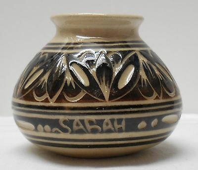 Brown Pottery Vase Handcrafted Marked Sabah With Designs Malaysia