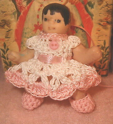 Dress for Miniature Doll Handmade with Booties 2