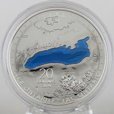 Canada 2014 Lake Ontario $20 1 oz Pure Silver Enameled Proof Coin Great Lakes #2 5