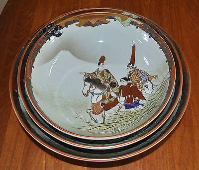 Superb Set of 3 Large Kutani Graduated Porcelain Bowls Hand Painted Meiji Period 9
