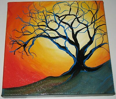 Bright Sun and Tree Acrylic Landscape Painting on Canvas Signed Mary Loos 2