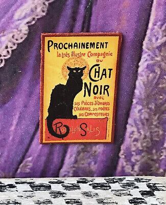 """Dollhouse Miniature FRENCH CABERET /""""the black cat/"""" bohemian Paris France 1:12"""