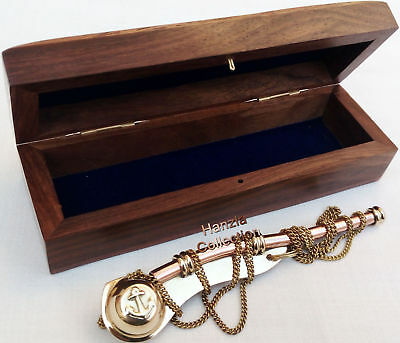 Maritime Brass/Copper Nautical Boatswain Whistle~Bosun Call Pipe with Wood Box 5