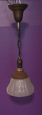 "Great 100 Year Old Pendant Light Vintage Antique 7"" Shade! 2"